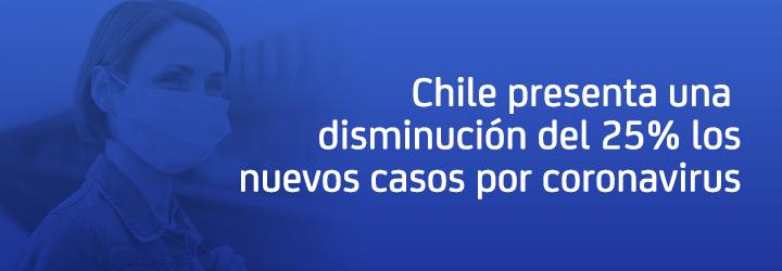 Chile presenta una disminución del 25% los nuevos casos por coronavirus